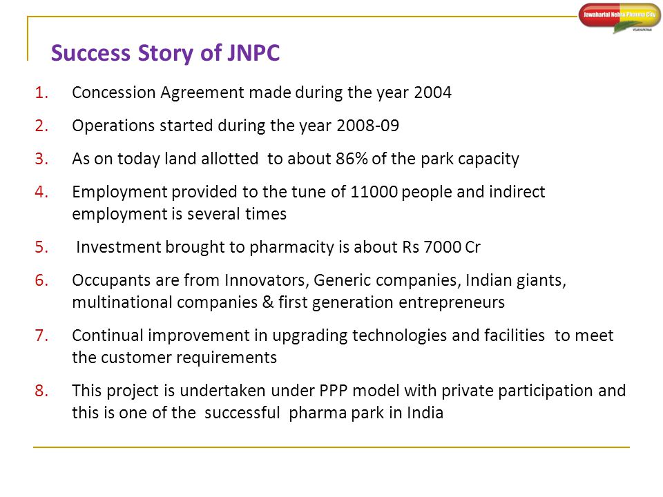 Success Story of JNPC Concession Agreement made during the year 2004