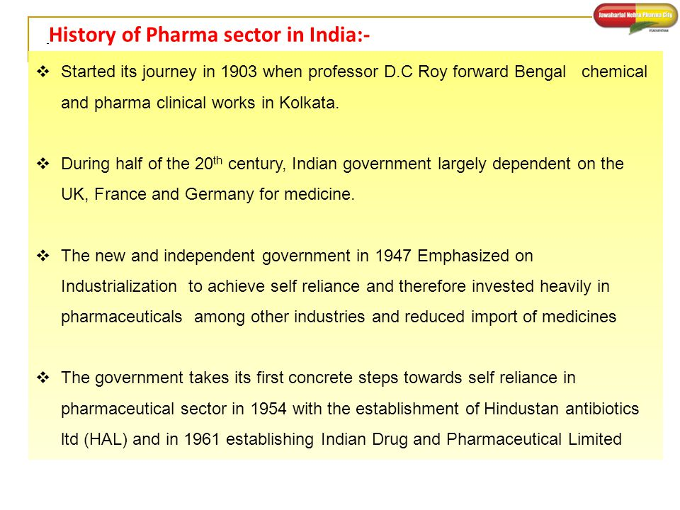 History of Pharma sector in India:-
