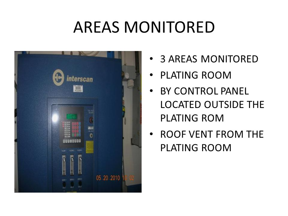 AREAS MONITORED 3 AREAS MONITORED PLATING ROOM