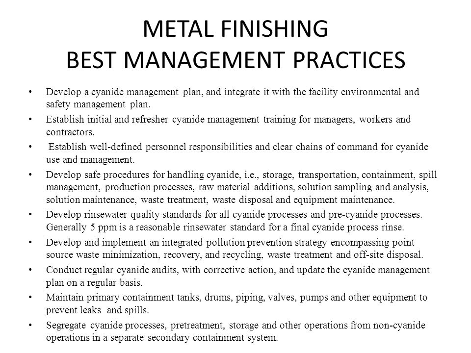 METAL FINISHING BEST MANAGEMENT PRACTICES