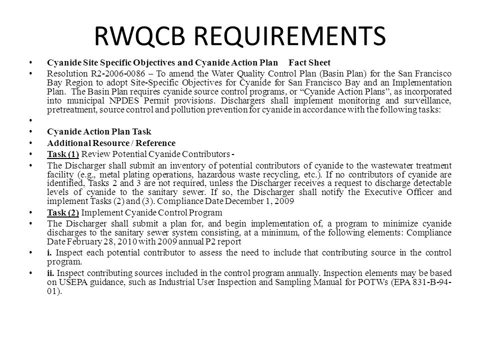 RWQCB REQUIREMENTS Cyanide Site Specific Objectives and Cyanide Action Plan Fact Sheet.