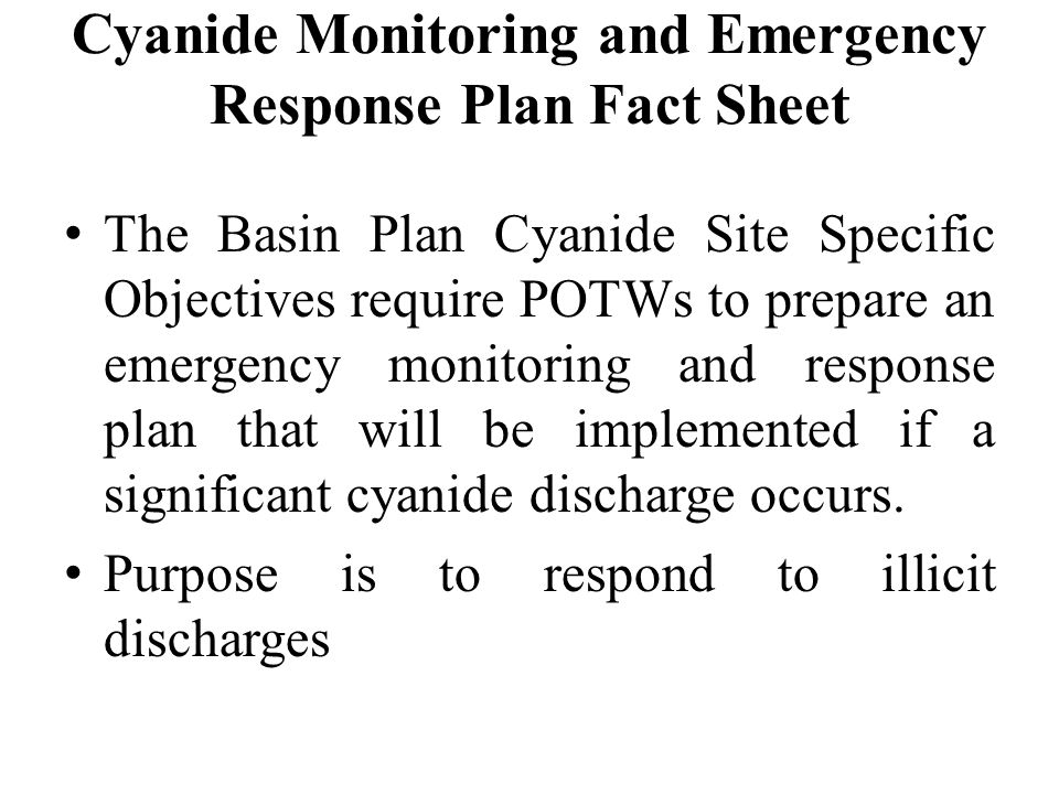 Cyanide Monitoring and Emergency Response Plan Fact Sheet