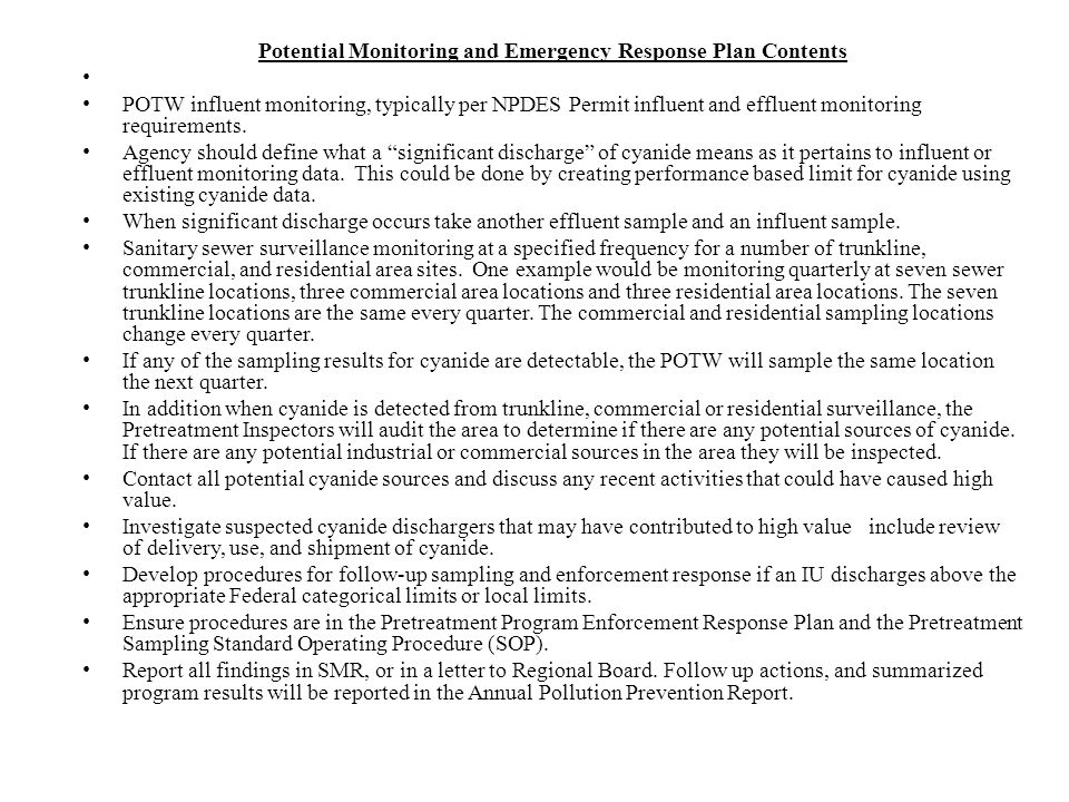 Potential Monitoring and Emergency Response Plan Contents