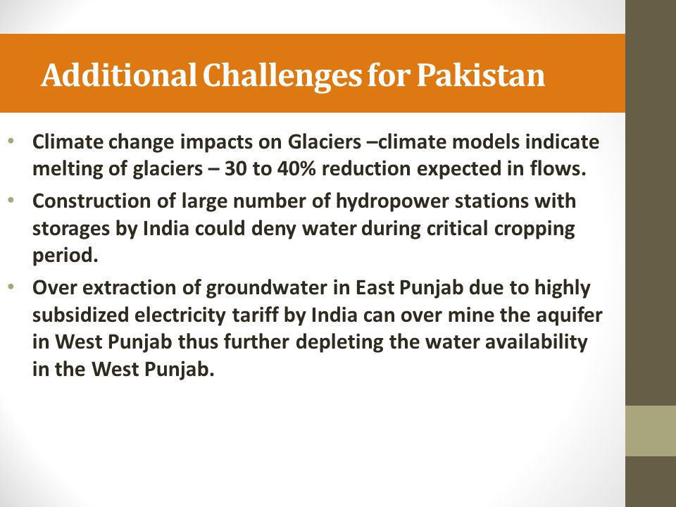Additional Challenges for Pakistan