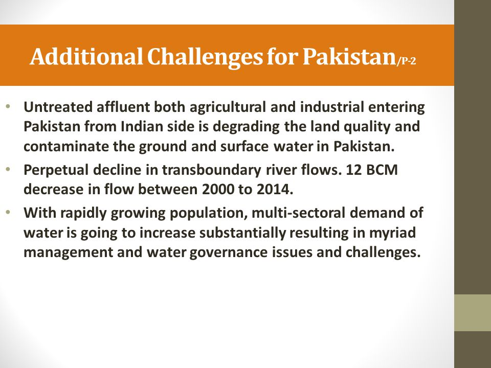 Additional Challenges for Pakistan/P-2
