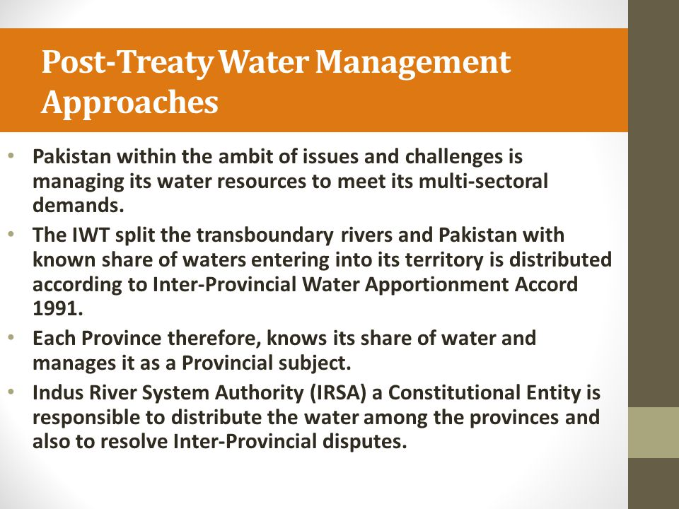 Post-Treaty Water Management Approaches