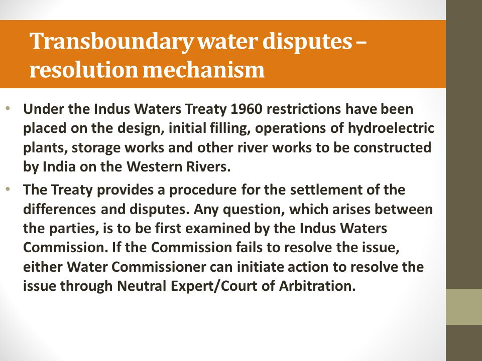Transboundary water disputes – resolution mechanism