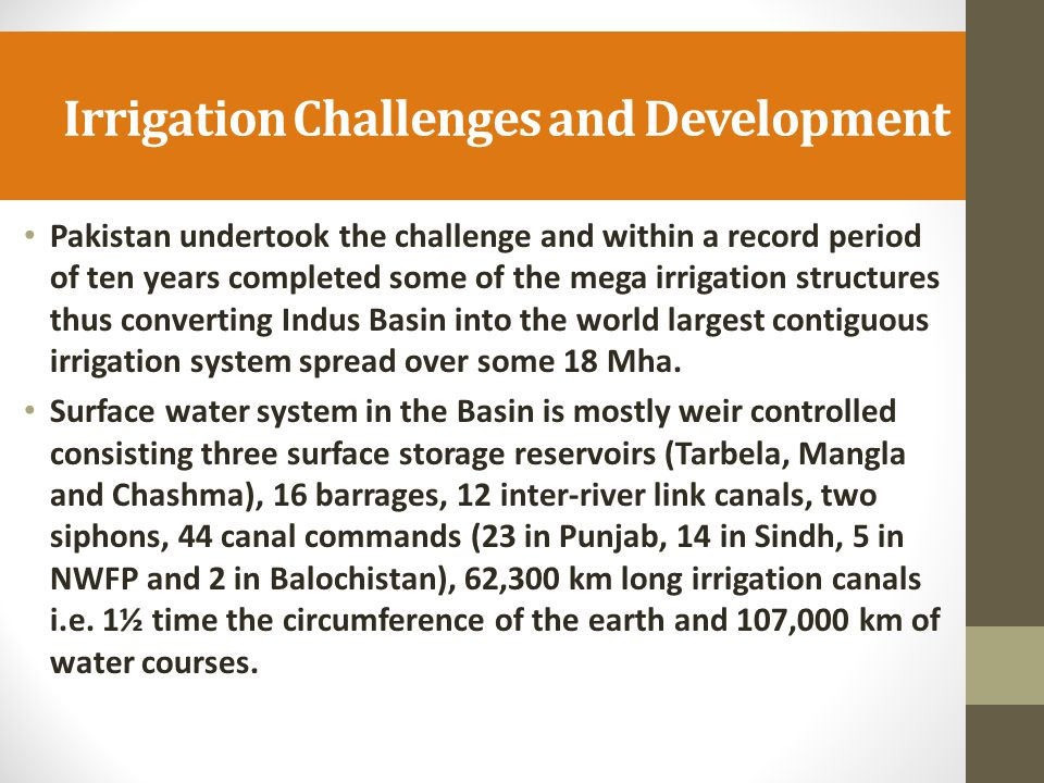 Irrigation Challenges and Development