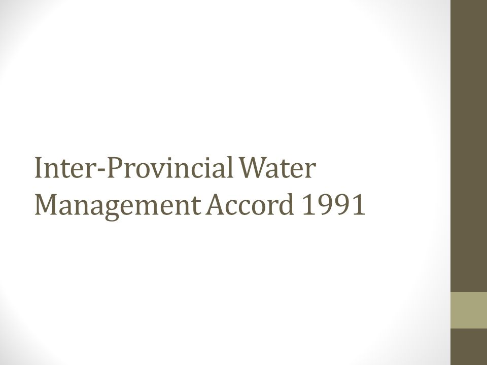 Inter-Provincial Water Management Accord 1991