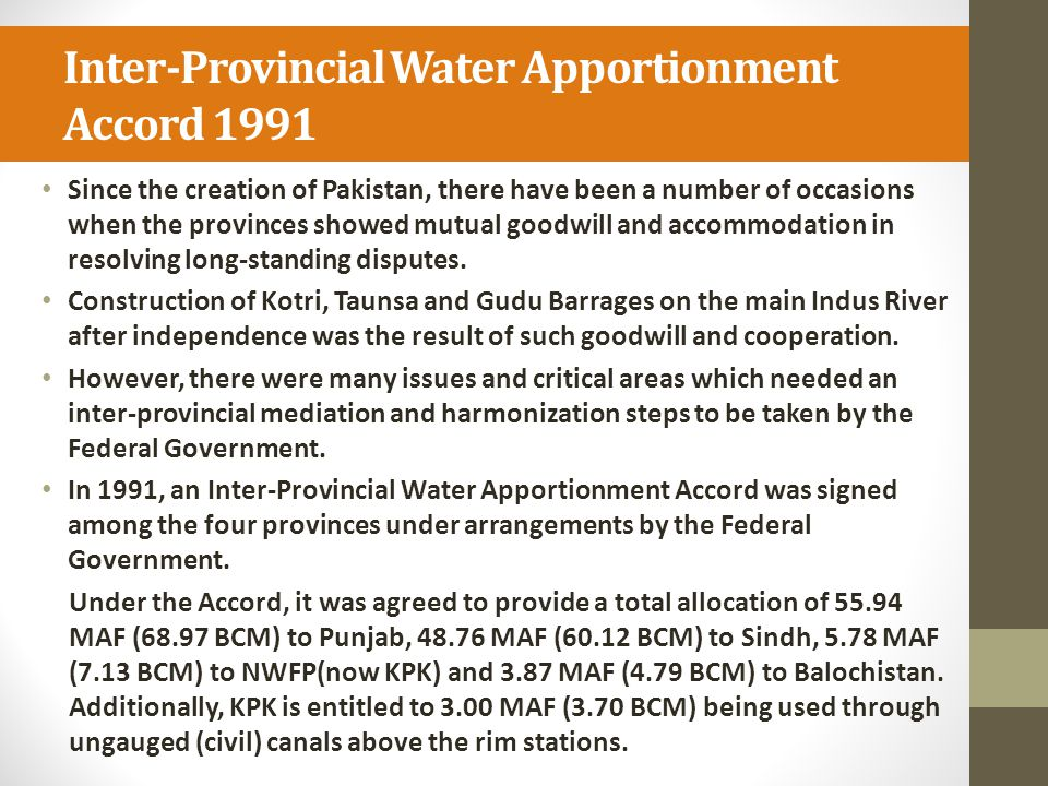 Inter-Provincial Water Apportionment Accord 1991