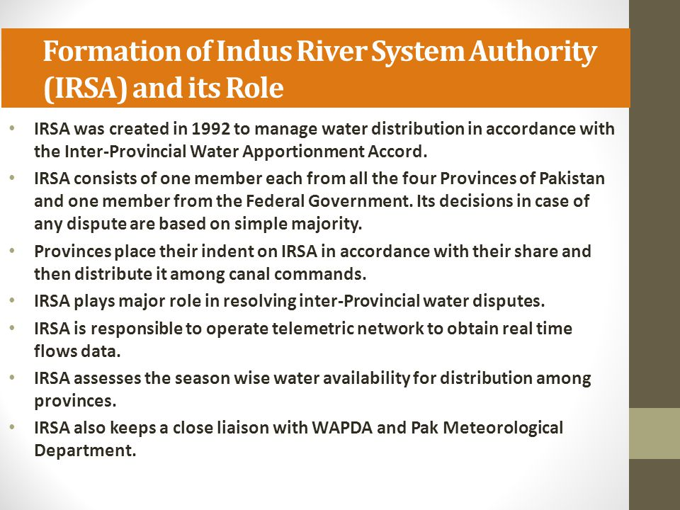 Formation of Indus River System Authority (IRSA) and its Role
