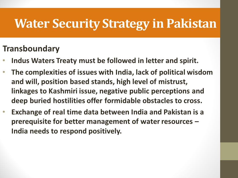 Water Security Strategy in Pakistan