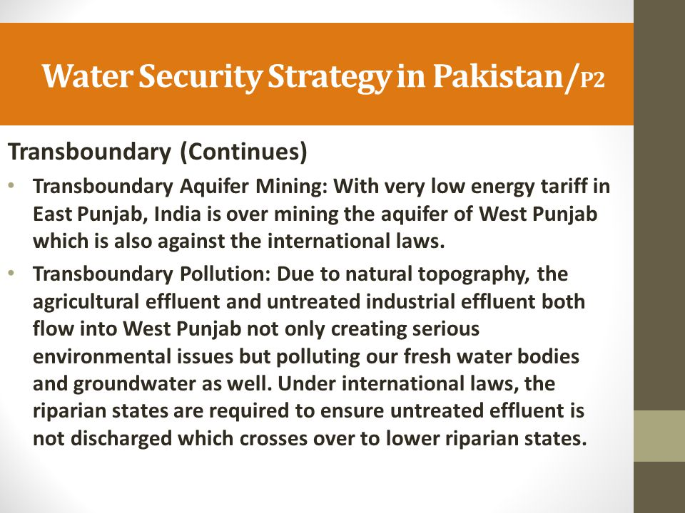 Water Security Strategy in Pakistan/P2