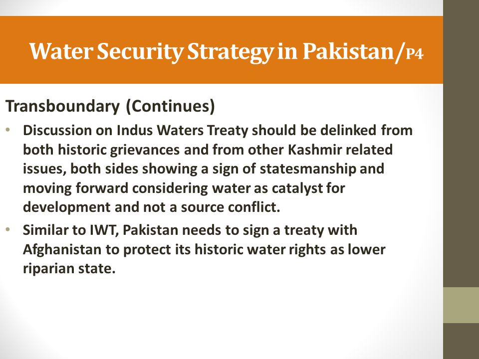 Water Security Strategy in Pakistan/P4