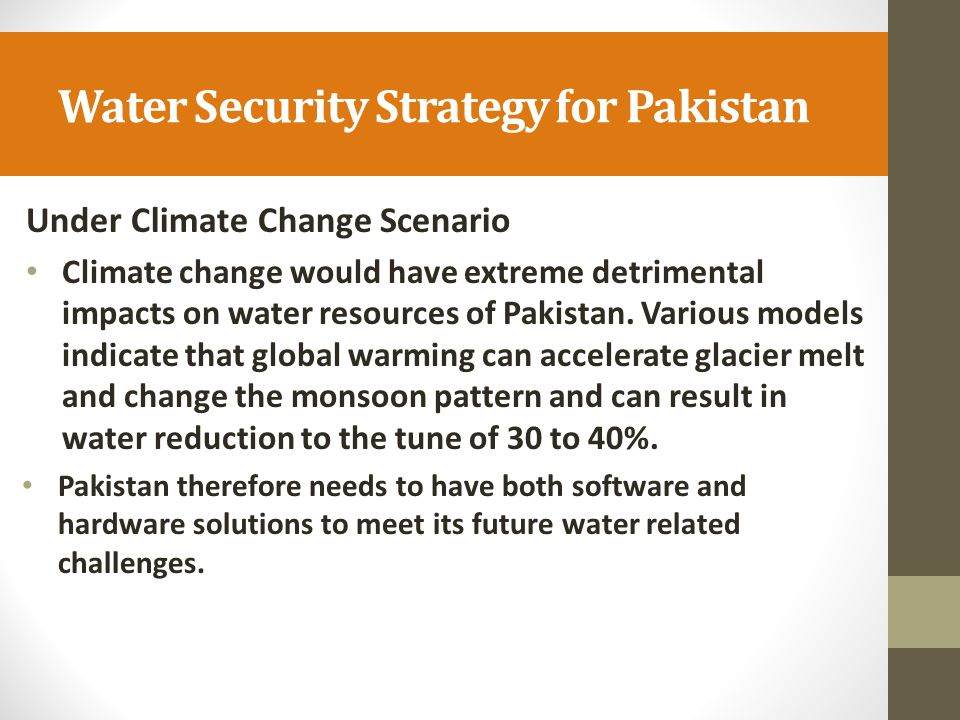 Water Security Strategy for Pakistan