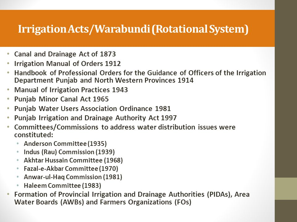 Irrigation Acts/Warabundi (Rotational System)