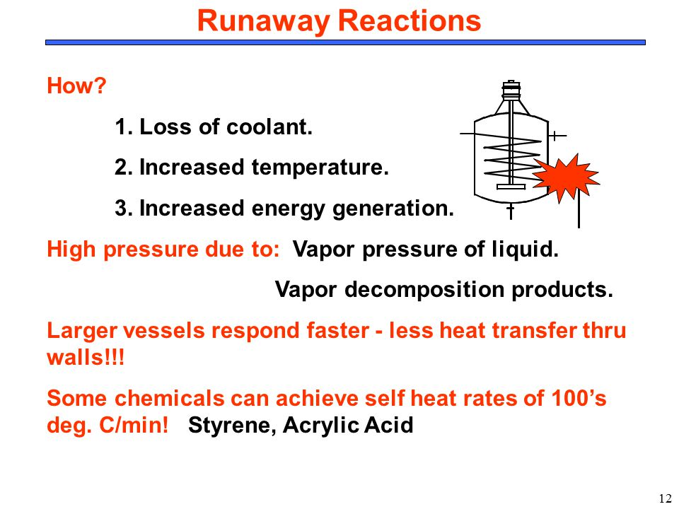 Runaway Reactions How 1. Loss of coolant. 2. Increased temperature.