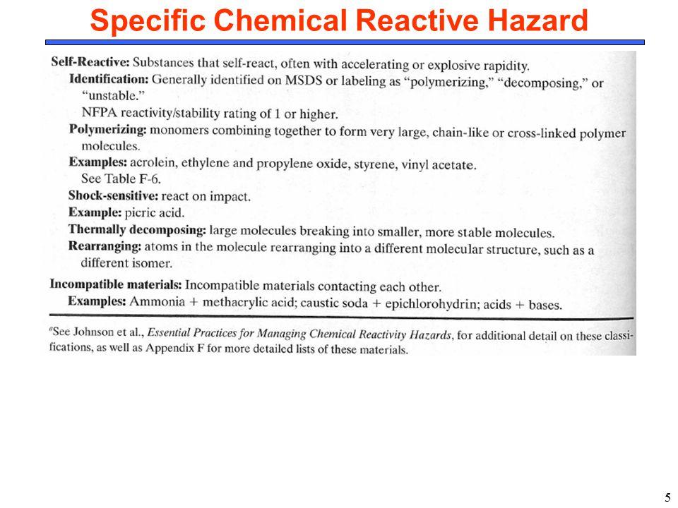 Specific Chemical Reactive Hazard