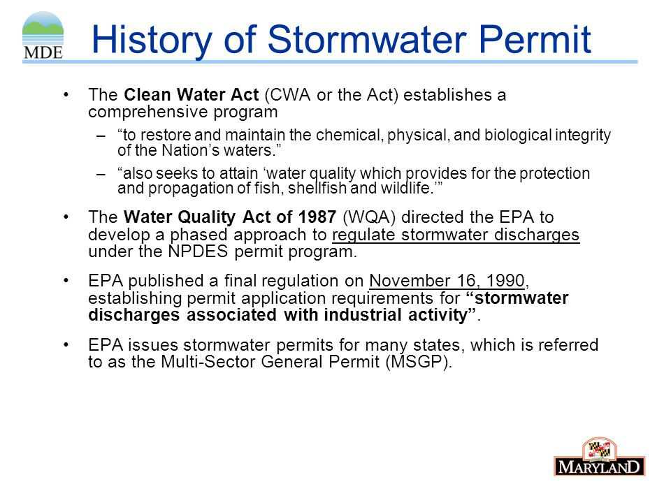 History of Stormwater Permit