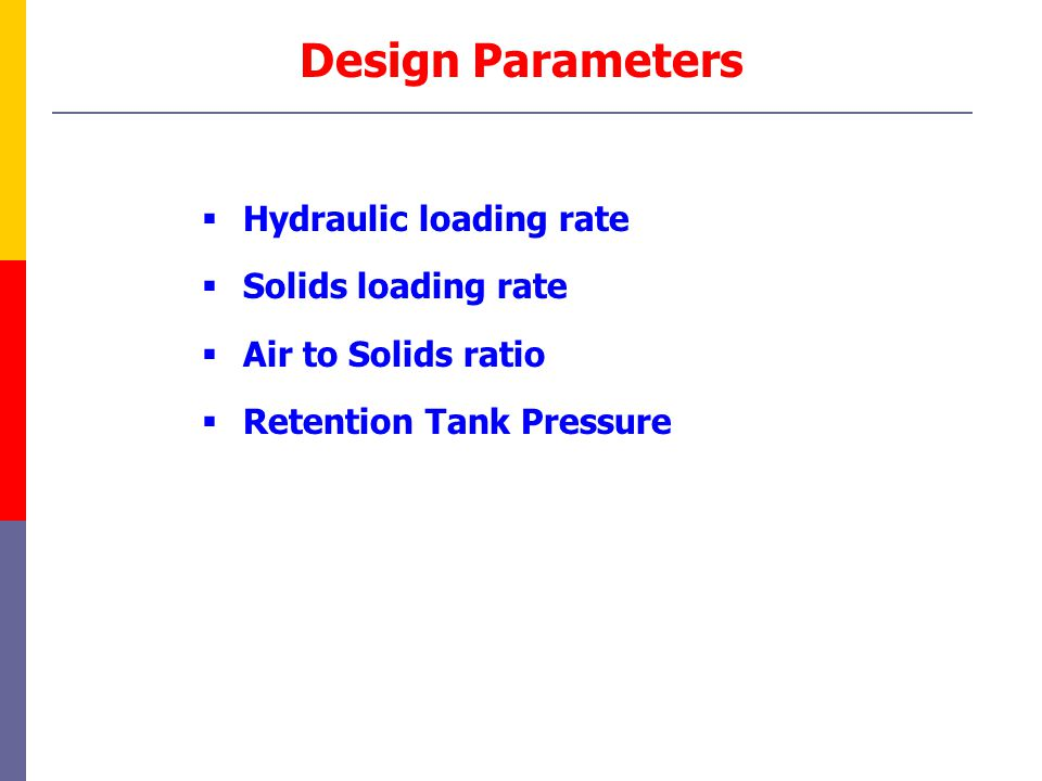 Design Parameters Hydraulic loading rate Solids loading rate