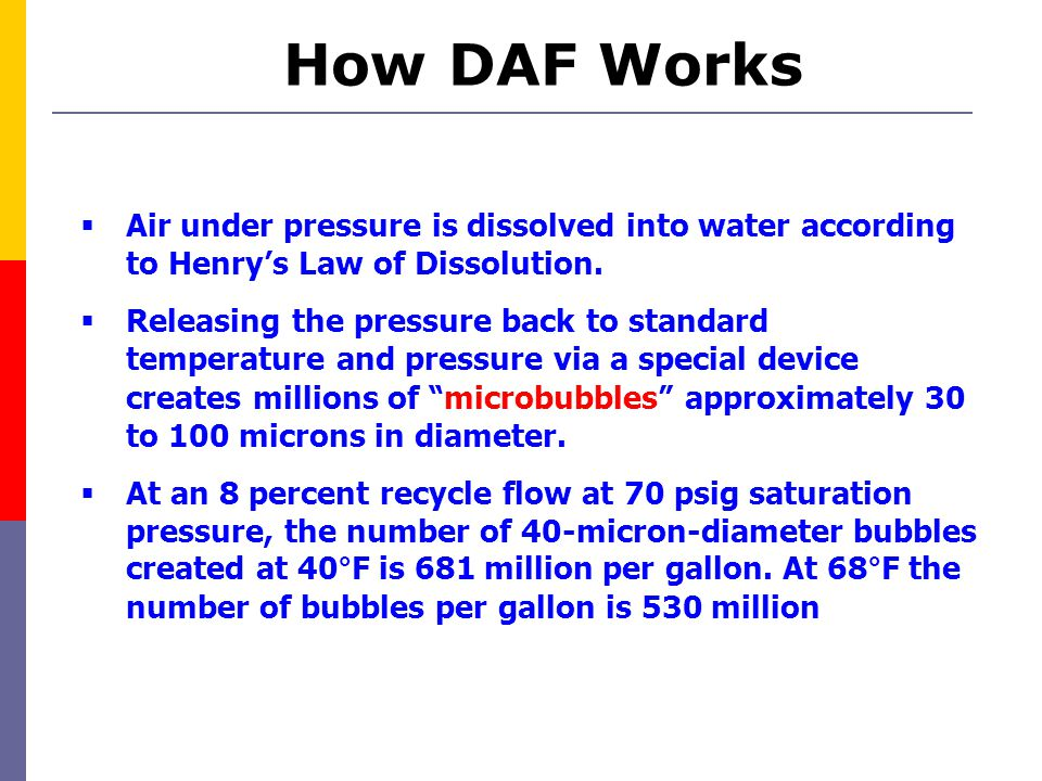 How DAF Works Air under pressure is dissolved into water according to Henry's Law of Dissolution.