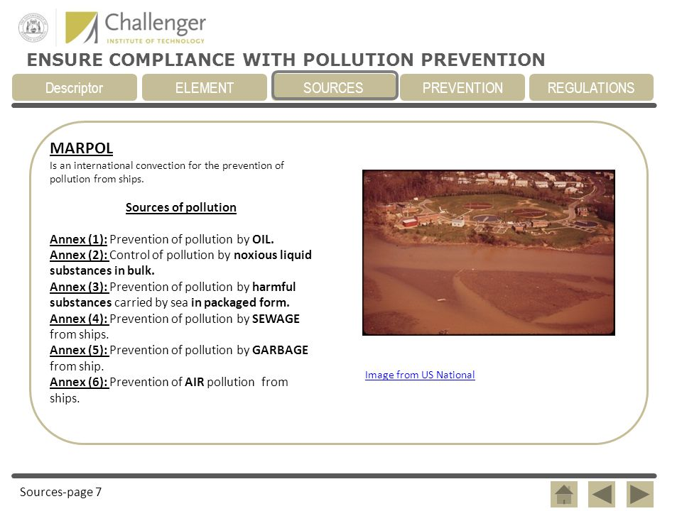 MARPOL Sources of pollution Annex (1): Prevention of pollution by OIL.