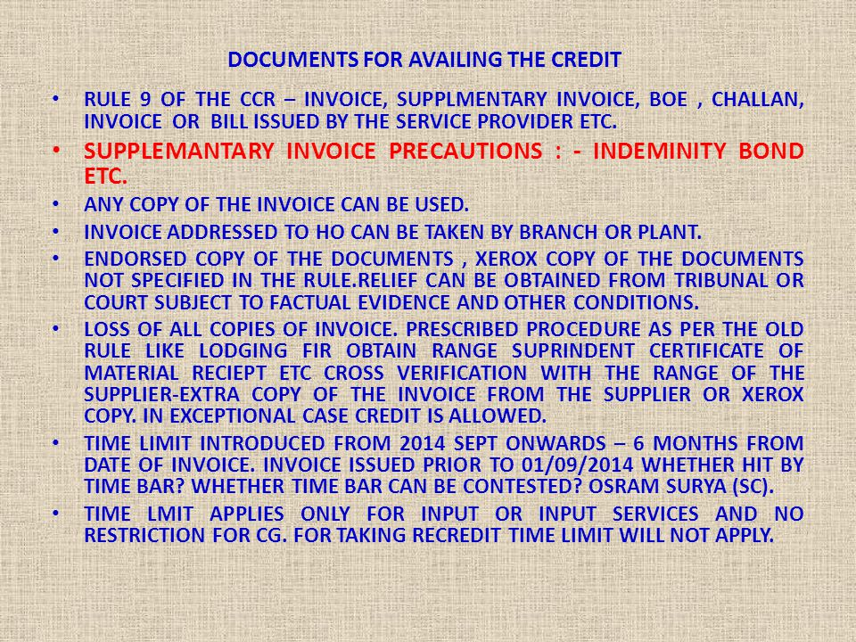 DOCUMENTS FOR AVAILING THE CREDIT