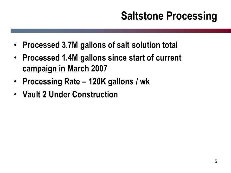 Saltstone Processing Processed 3.7M gallons of salt solution total