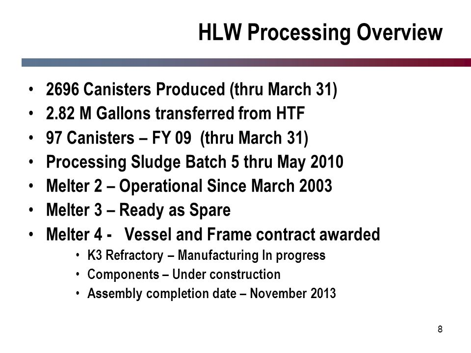 HLW Processing Overview