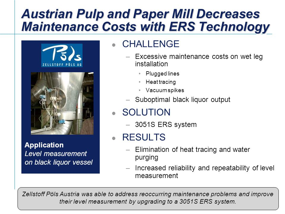 Austrian Pulp and Paper Mill Decreases Maintenance Costs with ERS Technology