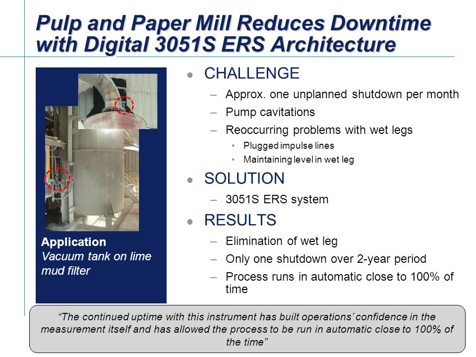 Pulp and Paper Mill Reduces Downtime with Digital 3051S ERS Architecture