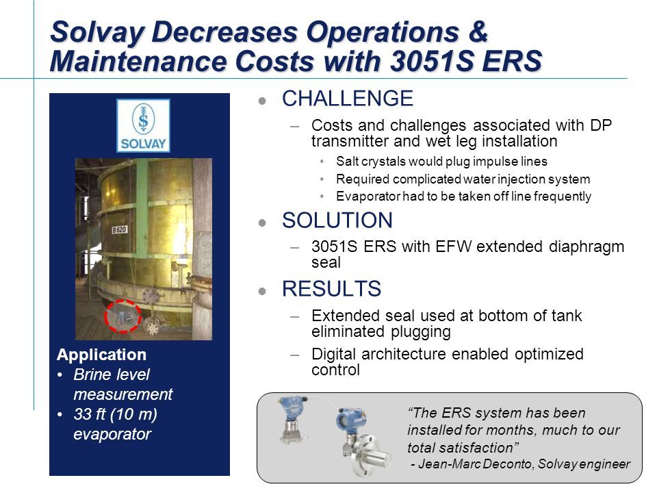Solvay Decreases Operations & Maintenance Costs with 3051S ERS