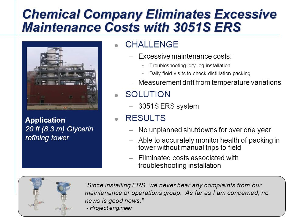 Chemical Company Eliminates Excessive Maintenance Costs with 3051S ERS
