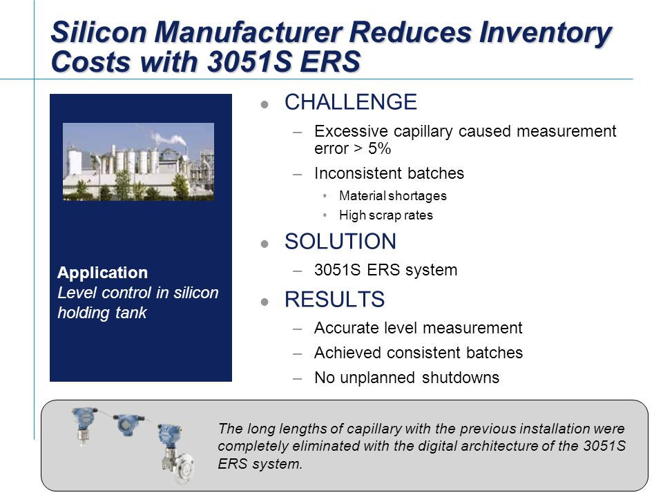 Silicon Manufacturer Reduces Inventory Costs with 3051S ERS