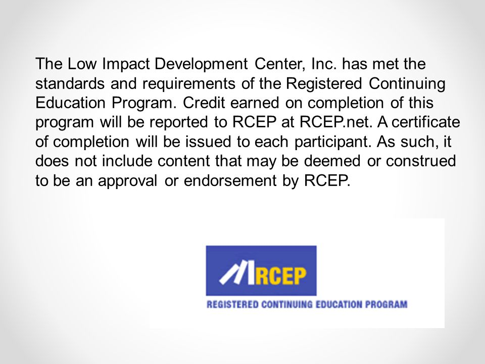 The Low Impact Development Center, Inc