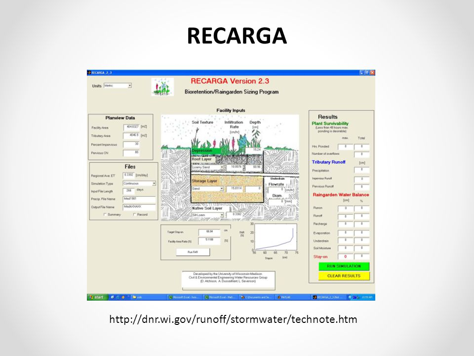 RECARGA http://dnr.wi.gov/runoff/stormwater/technote.htm