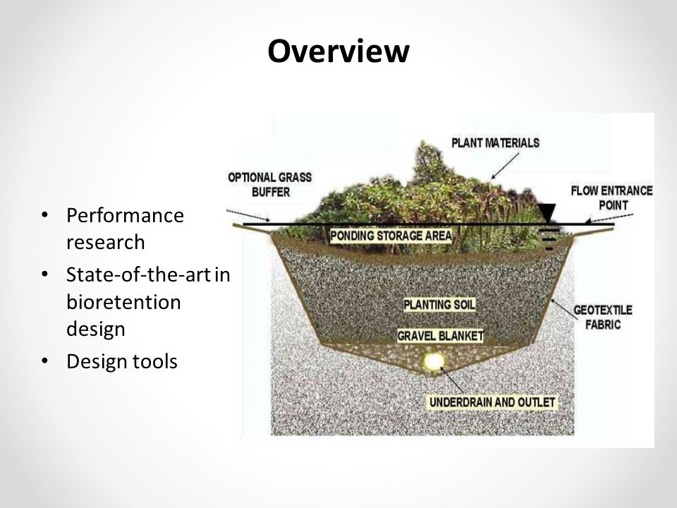 Overview Performance research State-of-the-art in bioretention design