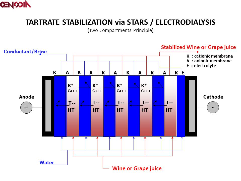 TARTRATE STABILIZATION via STARS / ELECTRODIALYSIS (Two Compartments Principle)