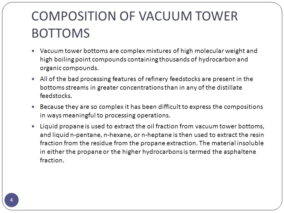 COMPOSITION OF VACUUM TOWER BOTTOMS