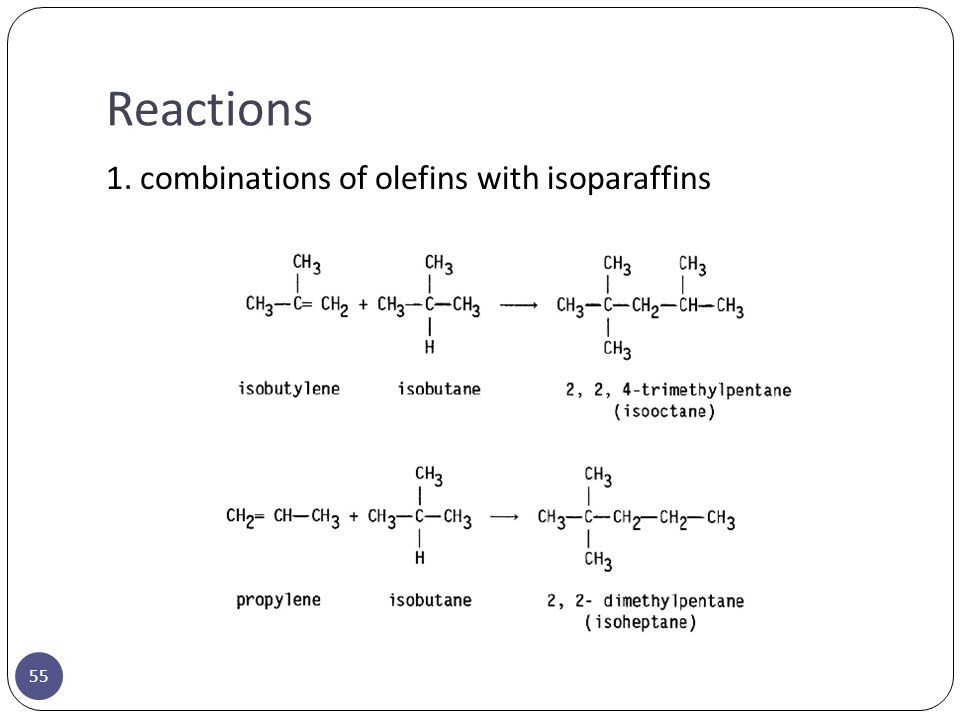 Reactions 1. combinations of olefins with isoparaffins