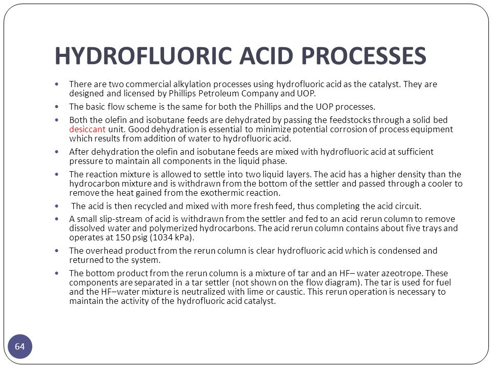 HYDROFLUORIC ACID PROCESSES
