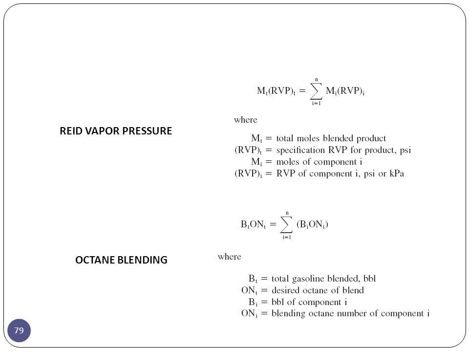 REID VAPOR PRESSURE OCTANE BLENDING