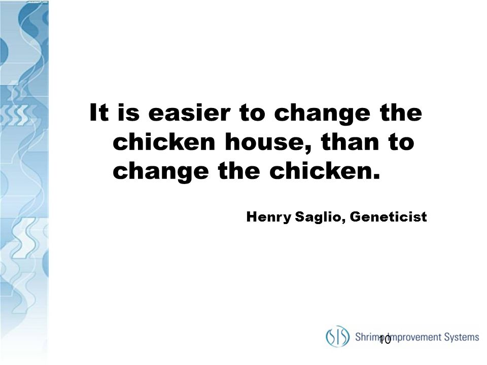 It is easier to change the chicken house, than to change the chicken.