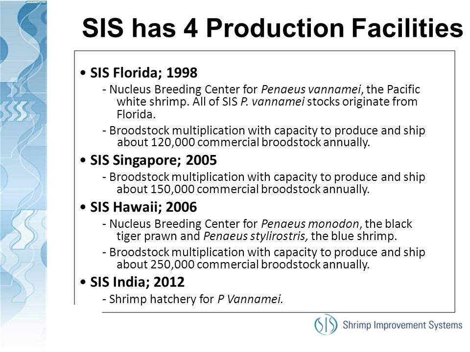 SIS has 4 Production Facilities