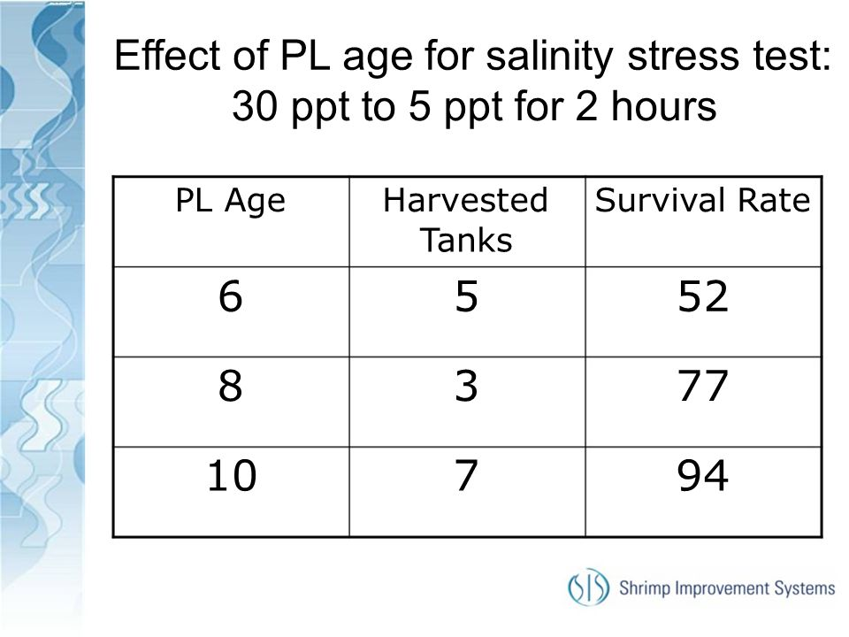 Effect of PL age for salinity stress test: 30 ppt to 5 ppt for 2 hours