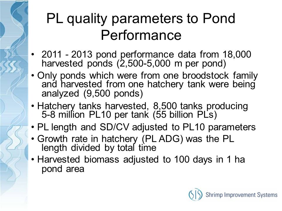 PL quality parameters to Pond Performance
