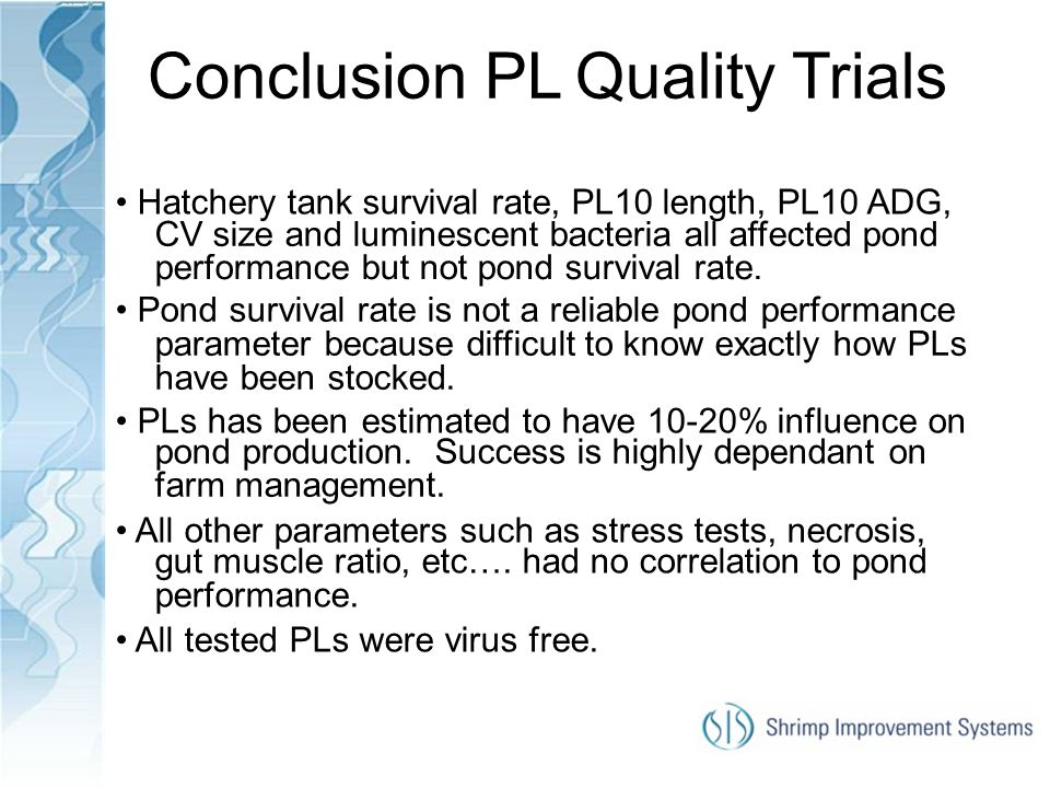 Conclusion PL Quality Trials