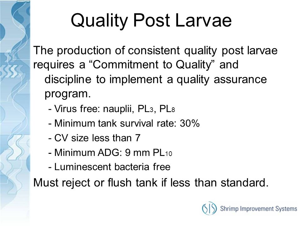 Quality Post Larvae The production of consistent quality post larvae requires a Commitment to Quality and.