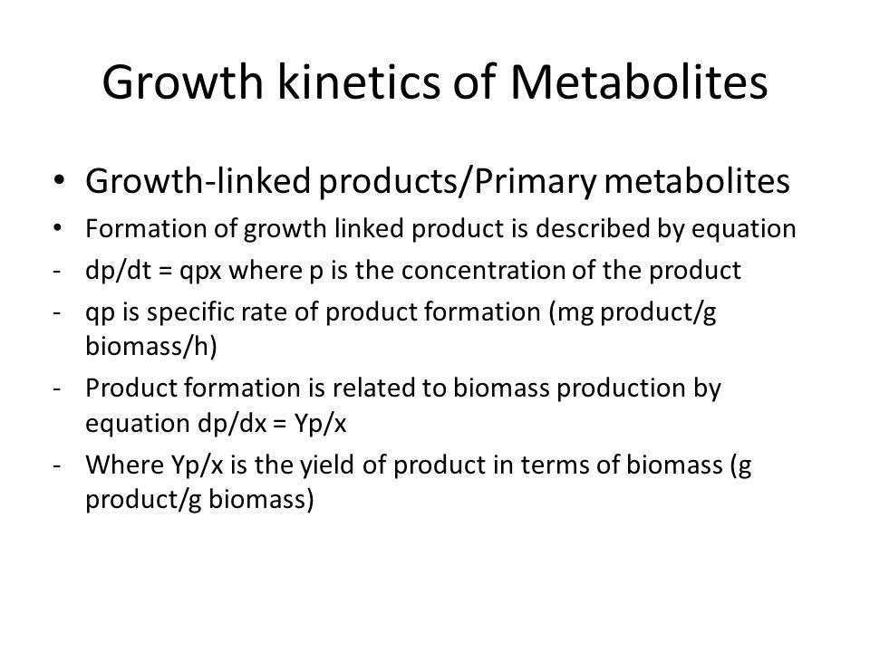 Growth kinetics of Metabolites