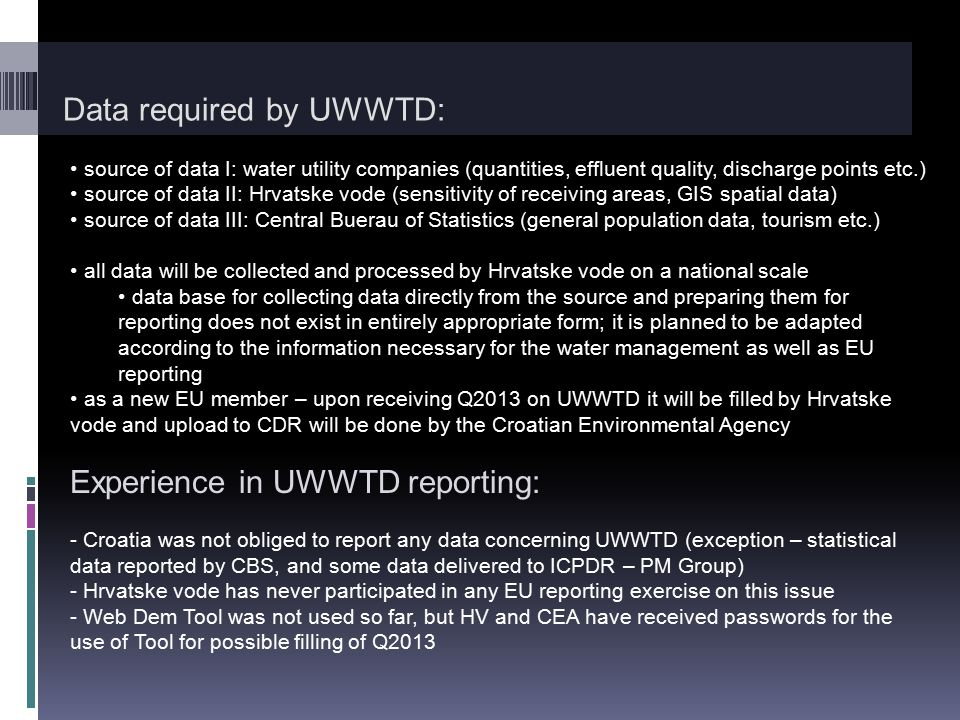 Data required by UWWTD: